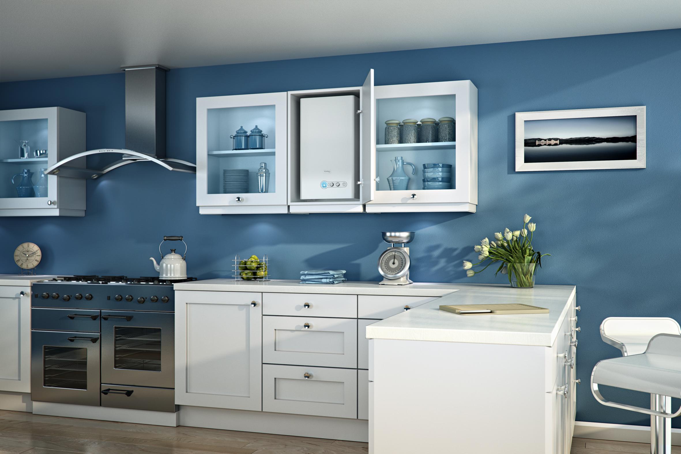 廚房壁掛柜和灶臺裝修效果圖